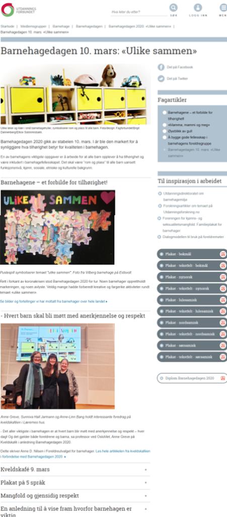 Nettside for Barnehagedagen 2020